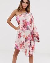 Lipsy chiffon one shoulder embellised mini dress in floral