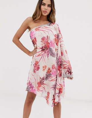 Lipsy chiffon one shoulder embellised mini dress in floral