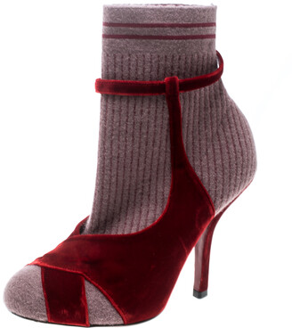 Fendi Red/Purple Velvet and Knitted Fabric Socks Ankle Booties Size 39