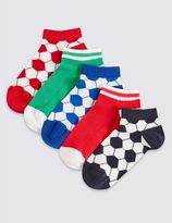 Marks and Spencer 5 Pairs of Cotton Rich Trainer Liner Socks (3-14 Years)