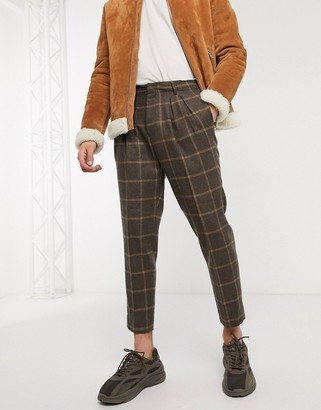 Asos DESIGN tapered crop smart pants in brown wool mix check