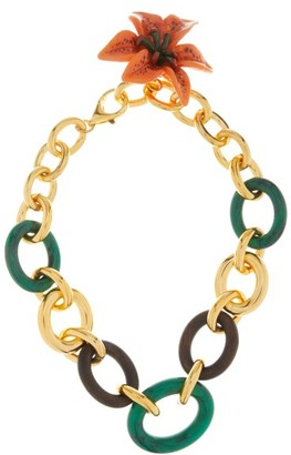 Dolce & Gabbana Flower Pendant Cable-chain Necklace - Womens - Green Multi