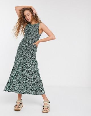 Weekday Josephine paint print shirred midi dress in green