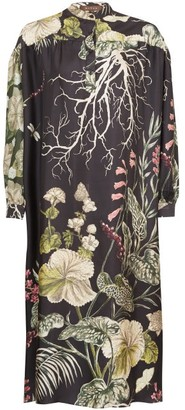 Biyan Liga Ayssen Floral-print Silk-twill Dress - Black Multi
