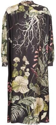 Biyan Liga Ayssen Floral-print Silk-twill Dress - Black Multi