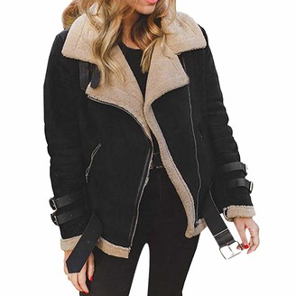 LEXUPE Women Autumn Winter Warm Comfortable Coat Casual Fashion Jacket Faux Fur Fleece Coat Outwear Warm Lapel Biker Motor Aviator Jacket Black