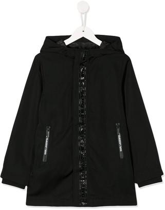 Karl Lagerfeld Paris logo trim padded parka coat