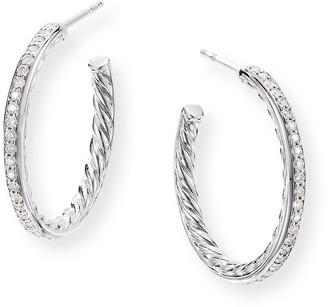 David Yurman Small Hoop Earrings w/ Pave Diamonds