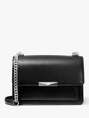 Michael Kors MICHAEL Jade Large Leather Cross Body Bag, Black