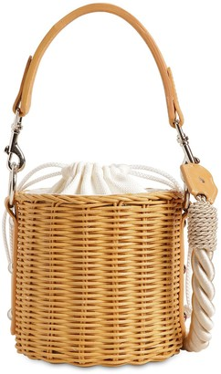 Wicker Wings Lu Rattan & Leather Bucket Bag