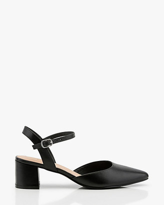 Le Château Leather Pointy Toe Block Heel Pump