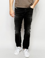 Diesel Jeans Tepphar 666q Skinny Fit Stretch Washed Black