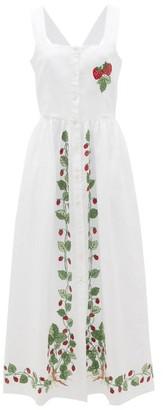 Simona Loretta Caponi Strawberry-embroidered Linen Dress - Womens - White Multi