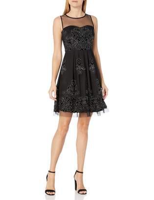 Sandra Darren Women's Sd Collection Sleeveless Mesh/Glitter with Flocking Dress