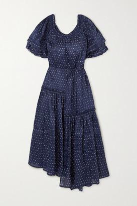 Apiece Apart Sandrine Asymmetric Ruffled Polka-dot Linen And Silk-blend Dress - Blue