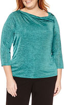 Liz Claiborne 3/4-Sleeve Twistneck Spacedye Top - Plus