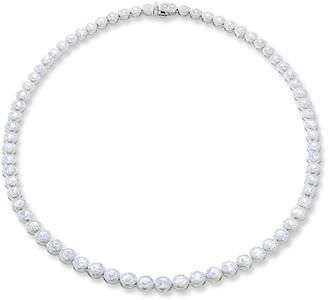 "64 Facets 18k White Gold Graduating Diamond Tennis Necklace, 16""L"