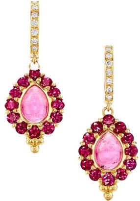 Temple St. Clair Dreamcatcher 18K Yellow Gold Ruby, Pink Tourmaline & Diamond Drop Earrings