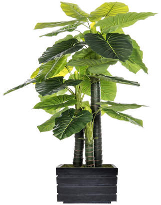 """Laura Ashley 78"""" Tall In/Outdoor Elephant Ear Plant Artificial Indoor/ Outdoor Decorative Faux in Fiberstone Planter"""