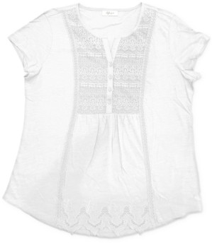 Style&Co. Style & Co American Picnic Lace-Front Top, Created for Macy's