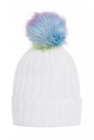 Quiz White Multi Coloured Pom Pom Hat