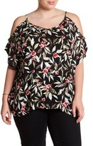 Bobeau Cold Shoulder Floral Blouse (Plus Size)