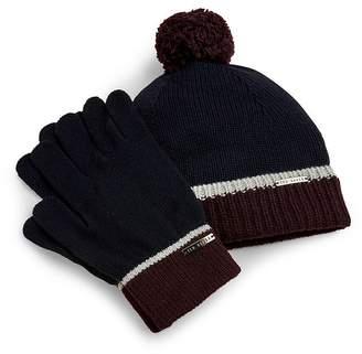 Ted Baker Woopak Knit Beanie & Glove Set