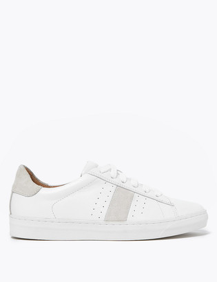 Marks and Spencer Leather Lace Up Side Stripe Trainers