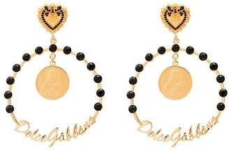 Dolce & Gabbana large embellished drop hoops