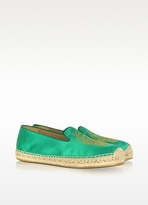 Marc by Marc Jacobs Owl Green Satin Espadrille Flat