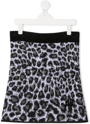 Alberta Ferretti Kids TEEN leopard print knitted skirt