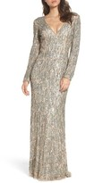 Mac Duggal Women's Beaded Long Sleeve Gown