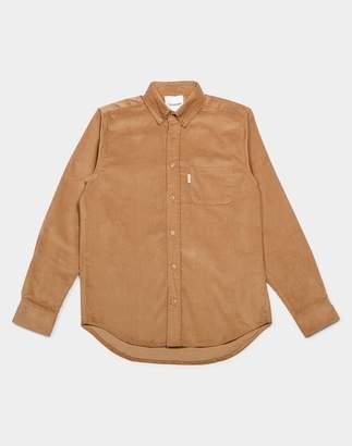 The Idle Man - Button Down Cord Shirt Tan