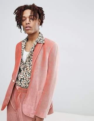 Asos Edition EDITION skinny suit jacket in pink velvet plisse