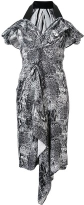 Maticevski Graphic-Print V-Neck Dress