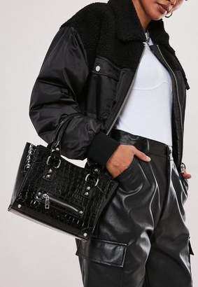 Missguided Black Croc Stud Detail Handbag