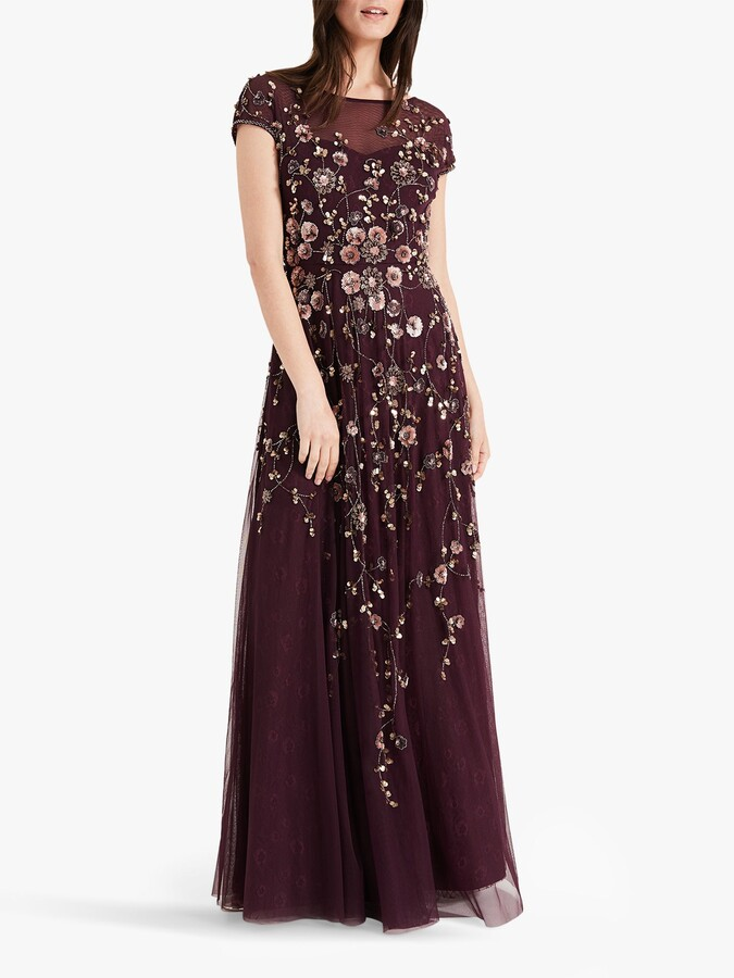Thumbnail for your product : Phase Eight Alanis Floral Beaded Maxi Dress, Port