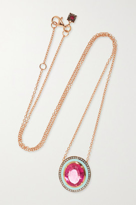 Selim Mouzannar 18-karat Rose Gold, Tourmaline, Diamond And Enamel Necklace