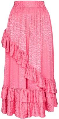 Batsheva Diagonal Ruffle Midi Skirt