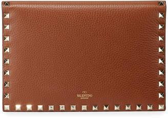Valentino Garavani Rockstud Medium Flat Folded Leather Clutch Bag