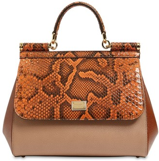 Dolce & Gabbana Md Sicily Multy Leather & Snakeskin Bag