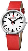 Mondaine 'Stop 2 Go' Leather Strap Watch, 41mm