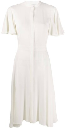 Alexander McQueen Draped Sleeve Asymmetric Hem Dress