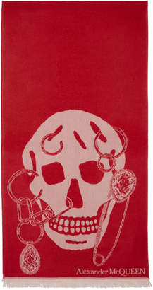 Alexander McQueen Red Wool Safety Pin Skull Scarf