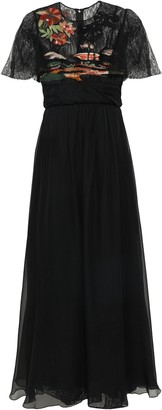 Valentino Embroidered Lace-paneled Silk-voile Gown
