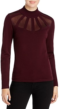 T Tahari Mock Neck Illusion Detail Sweater