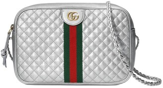 Gucci silver-tone Laminated leather small shoulder bag