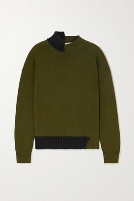 Marni Two-tone Wool-blend Sweater - Army green