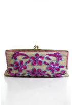 Moyna Beige Gold Tone Sequined Stitched Beaded Trim Kiss Lock Clutch Handbag