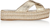 Prada Women's Crisscross-Strap Platform Espadrille Sandals-GOLD
